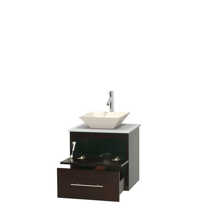 Centra 24 Single Bathroom Vanity Base Finish: Espresso, Basin Finish: Pyra Bone
