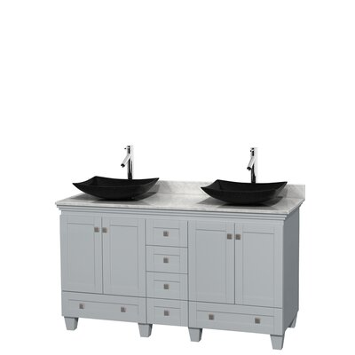 Acclaim 60 Double Bathroom Vanity Set Base Finish: Oyster Gray, Top Finish: White Carrera