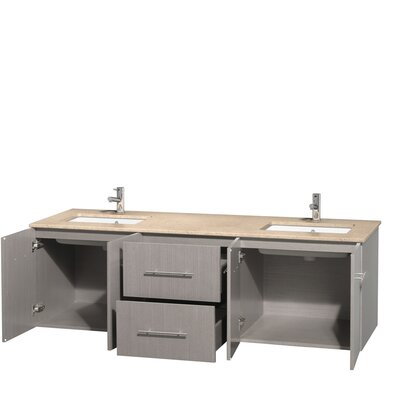 Centra 72 Double Bathroom Vanity Top Finish: Ivory, Base Finish: Gray Oak