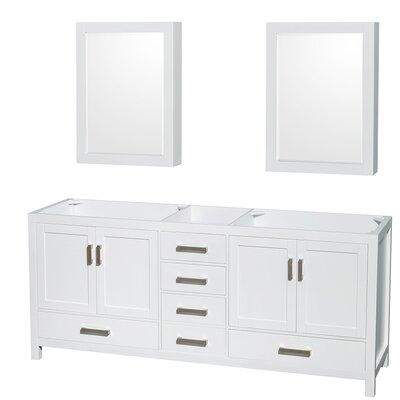 Sheffield 79 Double Bathroom Vanity Base Base Finish: White