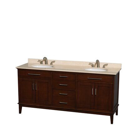 Hatton 72 Double Bathroom Vanity Base Finish: Dark Chestnut, Top Finish: Ivory
