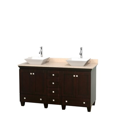 Acclaim 60 Double Bathroom Vanity Set Base Finish: Espresso, Top Finish: Ivory, Basin Finish: White Porcelain