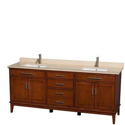 Hatton 80 Double Bathroom Vanity Set Base Finish: Light Chestnut, Top Finish: Ivory