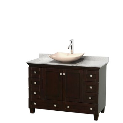 Acclaim 48 Single Bathroom Vanity Set Base Finish: Espresso, Top Finish: White Carrera, Basin Finish: Ivory Marble