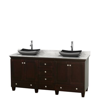 Acclaim 72 Double Bathroom Vanity Top Finish: White Carrera, Base Finish: Espresso