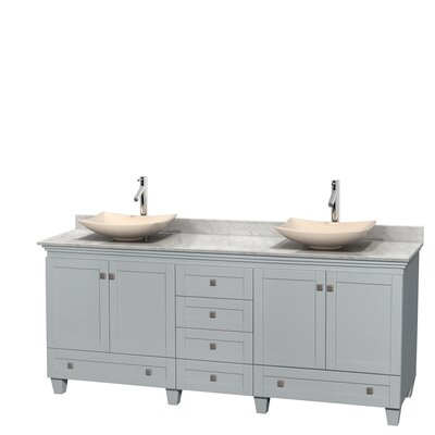 Acclaim 80 Double Bathroom Vanity Set Base Finish: Oyster Gray, Top Finish: White Carrera, Basin Finish: Ivory Marble