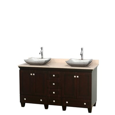 Acclaim 60 Double Bathroom Vanity Set Base Finish: Espresso, Top Finish: Ivory, Basin Finish: White Carrera Marble