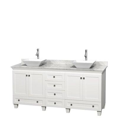 Acclaim 72 Double Bathroom Vanity Base Finish: White, Top Finish: White Carrera, Basin Finish: White Porcelain