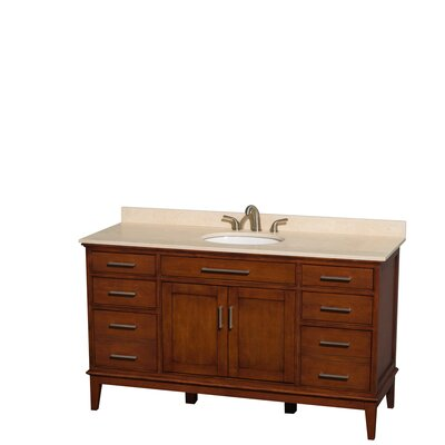 Hatton 60 Single Bathroom Vanity Set Top Finish: Ivory, Base Finish: Light Chestnut