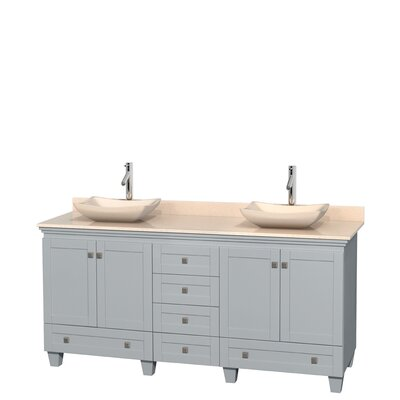 Acclaim 72 Double Bathroom Vanity Base Finish: Oyster Gray, Top Finish: Ivory, Basin Finish: Ivory Marble
