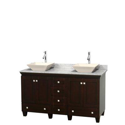 Acclaim 60 Double Bathroom Vanity Set Basin Finish: Bone Porcelain, Base Finish: Espresso, Top Finish: White Carrera