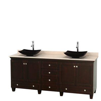 Acclaim 80 Double Bathroom Vanity Set Base Finish: Espresso, Top Finish: Ivory