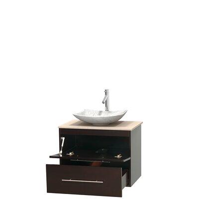 Centra 30 Single Bathroom Vanity Set Top Finish: Ivory, Basin Finish: White Carrera Marble, Base Finish: Espresso