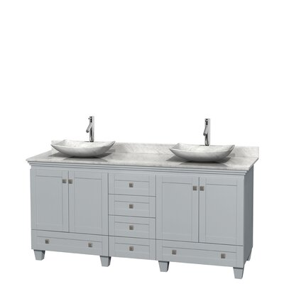 Acclaim 72 Double Bathroom Vanity Base Finish: Oyster Gray, Basin Finish: White Carrera Marble, Top Finish: White Carrera
