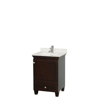 Acclaim 24 Single Bathroom Vanity Set Base Finish: Espresso, Top Finish: White Carrera