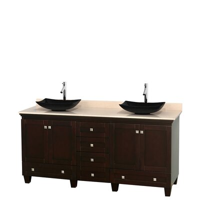 Acclaim 72 Double Bathroom Vanity Base Finish: White, Top Finish: White Carrera