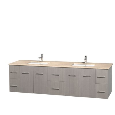 Centra 80 Double Bathroom Vanity Set Base Finish: Gray Oak, Top Finish: Ivory