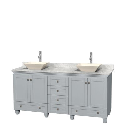 Acclaim 72 Double Bathroom Vanity Base Finish: Oyster Gray, Top Finish: White Carrera, Basin Finish: Bone Porcelain