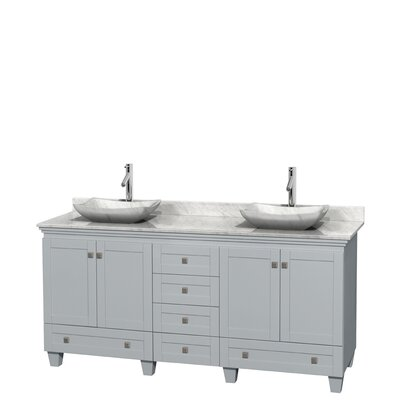 Acclaim 72 Double Bathroom Vanity Base Finish: Oyster Gray, Top Finish: White Carrera, Basin Finish: White Carrera Marble