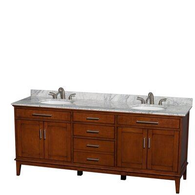 Hatton 80 Double Bathroom Vanity Set Base Finish: Light Chestnut, Top Finish: White Carrera