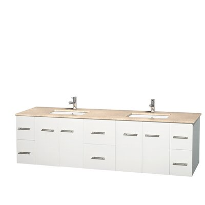 Centra 80 Double Bathroom Vanity Set Base Finish: Matte White, Top Finish: Ivory