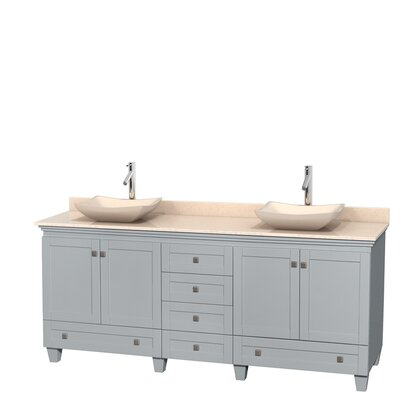 Acclaim 80 Double Bathroom Vanity Set Top Finish: Ivory, Basin Finish: Ivory Marble, Base Finish: Oyster Gray
