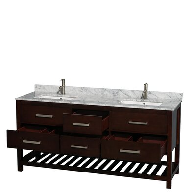 Natalie 72 Double Bathroom Vanity Set Base Finish: Espresso, Top Finish: White Carrera