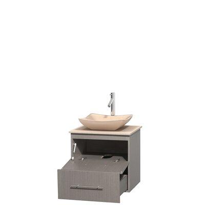Centra 24 Single Bathroom Vanity Set Base Finish: Gray Oak, Top Finish: Ivory, Basin Finish: Ivory Marble