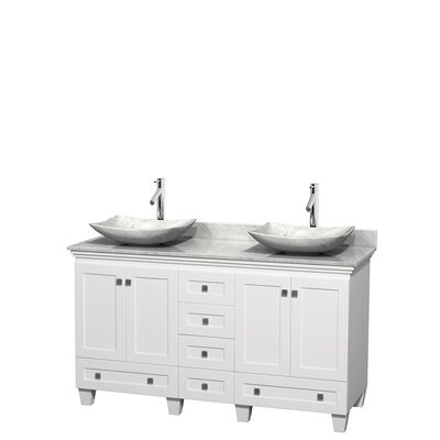 Acclaim 60 Double Bathroom Vanity Set Base Finish: White, Top Finish: White Carrera, Basin Finish: White Carrera Marble