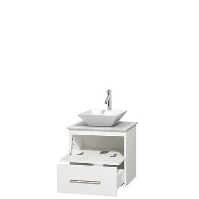 Centra 24 Single Bathroom Vanity Base Finish: Matte White, Basin Finish: Pyra White