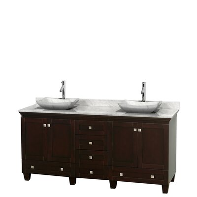 Acclaim 72 Double Bathroom Vanity Base Finish: Espresso, Top Finish: White Carrera, Basin Finish: White Carrera Marble