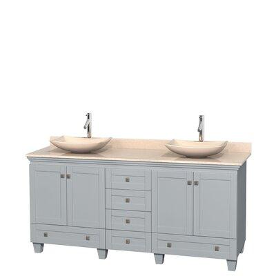 Acclaim 72 Double Bathroom Vanity Base Finish: Oyster Gray, Top Finish: Ivory, Basin Finish: Ivory Marble