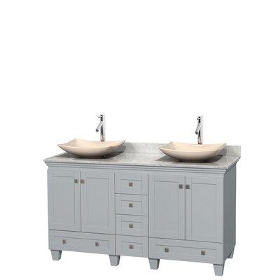 Acclaim 60 Double Bathroom Vanity Set Base Finish: Oyster Gray, Top Finish: White Carrera, Basin Finish: Ivory Marble