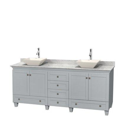 Acclaim 80 Double Bathroom Vanity Set Base Finish: Oyster Gray, Top Finish: White Carrera, Basin Finish: Bone Porcelain
