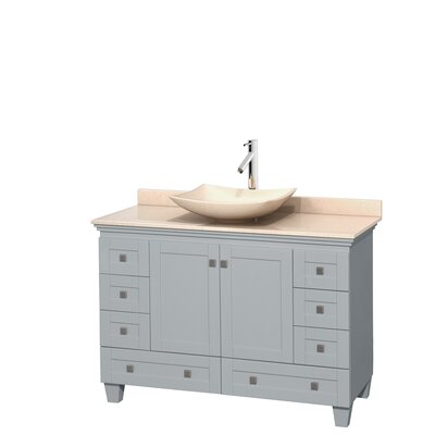 Acclaim 48 Single Bathroom Vanity Set Top Finish: Ivory, Basin Finish: Ivory Marble, Base Finish: Oyster Gray
