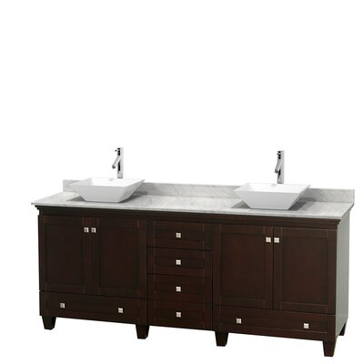 Acclaim 80 Double Bathroom Vanity Set Top Finish: White Carrera, Basin Finish: White Porcelain, Base Finish: Espresso