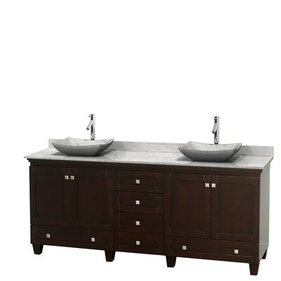 Acclaim 80 Double Bathroom Vanity Set Base Finish: Espresso, Top Finish: White Carrera, Basin Finish: White Carrera Marble