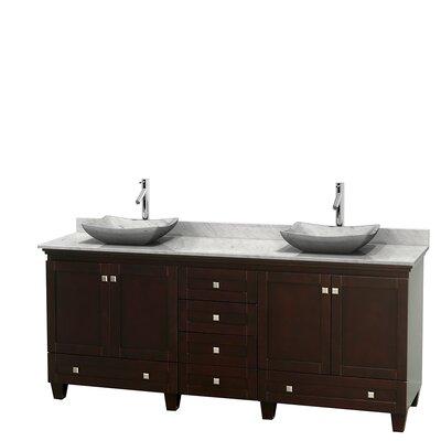 Acclaim 80 Double Bathroom Vanity Set Base Finish: Espresso, Basin Finish: White Carrera Marble, Top Finish: White Carrera
