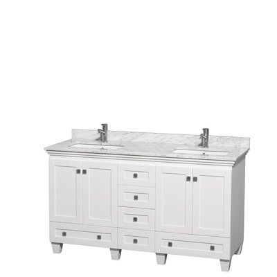 Acclaim 60 Double Bathroom Vanity Set Top Finish: White Carrera, Base Finish: White