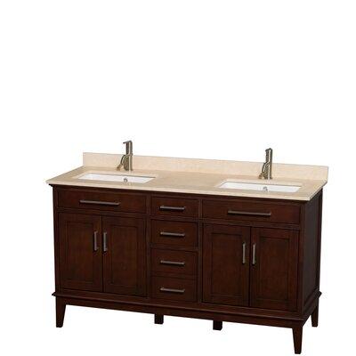 Hatton 60 Double Bathroom Vanity Set Base Finish: Dark Chestnut, Top Finish: Ivory