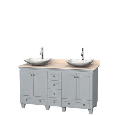 Acclaim 60 Double Bathroom Vanity Set Base Finish: Oyster Gray, Top Finish: Ivory, Basin Finish: White Carrera Marble