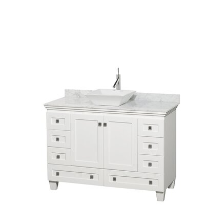 Acclaim 48 Single Bathroom Vanity Set Base Finish: White, Top Finish: White Carrera, Basin Finish: White Porcelain