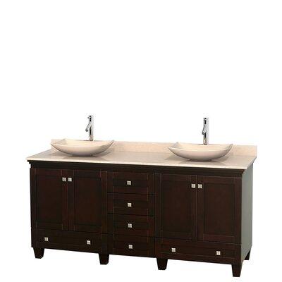 Acclaim 72 Double Bathroom Vanity Base Finish: Espresso, Top Finish: Ivory, Basin Finish: Ivory Marble