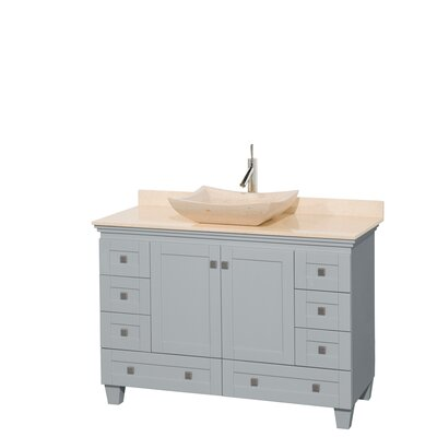 Acclaim 48 Single Bathroom Vanity Set Base Finish: Oyster Gray, Basin Finish: Ivory Marble, Top Finish: Ivory