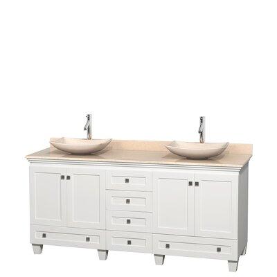 Acclaim 72 Double Bathroom Vanity Base Finish: White, Top Finish: Ivory, Basin Finish: Ivory Marble