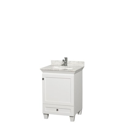 Acclaim 24 Single Bathroom Vanity Set Base Finish: White, Top Finish: White Carrera