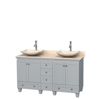Acclaim 60 Double Bathroom Vanity Set Base Finish: Oyster Gray, Basin Finish: Ivory Marble, Top Finish: Ivory