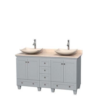 Acclaim 60 Double Bathroom Vanity Set Base Finish: Oyster Gray, Top Finish: Ivory, Basin Finish: Ivory Marble