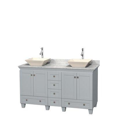 Acclaim 60 Double Bathroom Vanity Set Base Finish: Oyster Gray, Basin Finish: Bone Porcelain, Top Finish: White Carrera