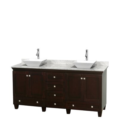 Acclaim 72 Double Bathroom Vanity Base Finish: Espresso, Top Finish: White Carrera, Basin Finish: White Porcelain